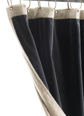 rideau occultant m dicis en velours de coton gris anthracite pr t poser 130x280 cm. Black Bedroom Furniture Sets. Home Design Ideas