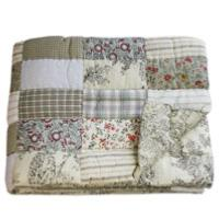 PONDICHERY Plaid matelassé en patchwork Ecru