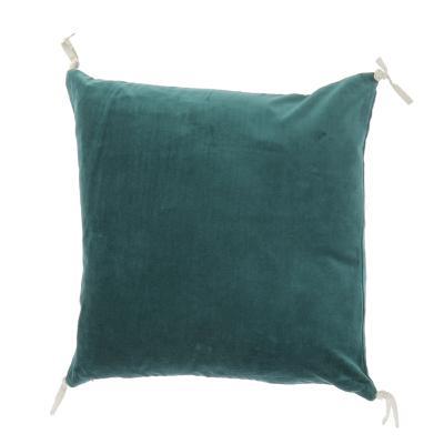 coussin en velours de coton 45x45 cm d houssable de la collection vague coloris bleu paon. Black Bedroom Furniture Sets. Home Design Ideas