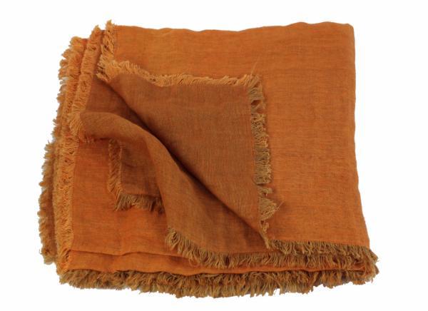 plaid en lin lav double toffe orange de la collection double par en fil d 39 indienne. Black Bedroom Furniture Sets. Home Design Ideas