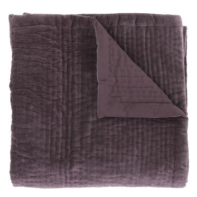 Plaid en velours piqué main - VAGUE VIOLETTE