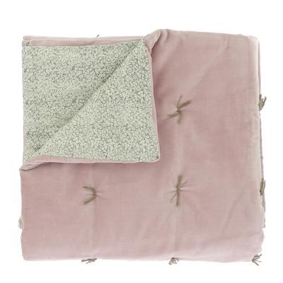 boutis matelass tosca en velours de coton rose poudre et imprim liberty. Black Bedroom Furniture Sets. Home Design Ideas