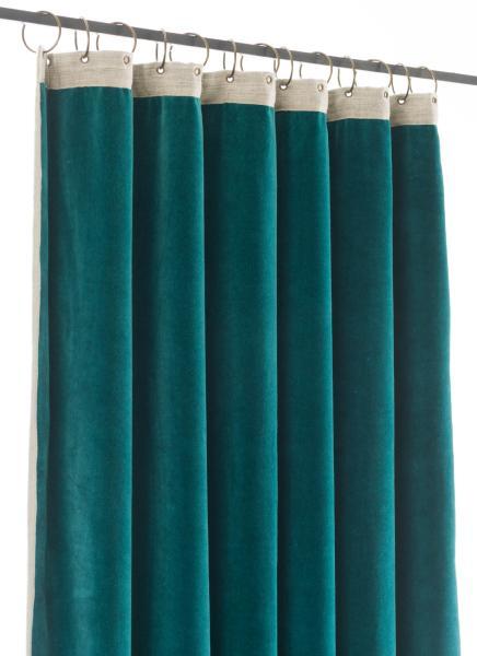 rideau occultant m dicis en velours de coton bleu canard pr t poser 130x280 cm. Black Bedroom Furniture Sets. Home Design Ideas