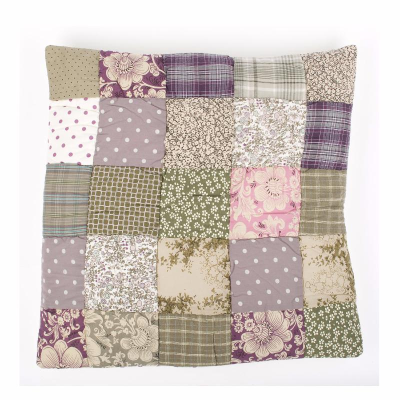 taie d 39 oreiller en v ritable patchwork pondich ry grise by en fil d 39 indienne. Black Bedroom Furniture Sets. Home Design Ideas