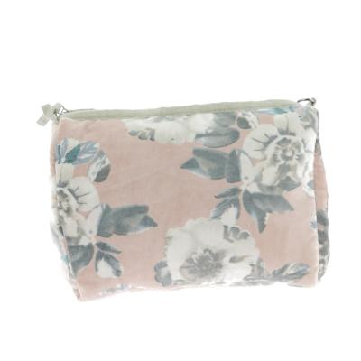 Trousse de Toilette en velours ANEMONE Rose Blush