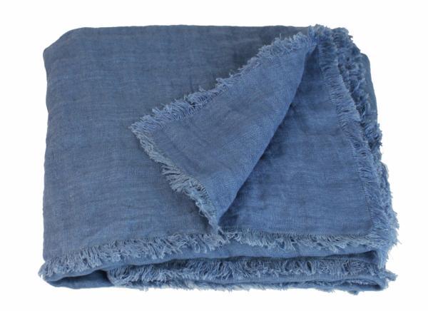 plaid en lin lav double toffe bleu indigo de la collection double par en fil d 39 indienne. Black Bedroom Furniture Sets. Home Design Ideas