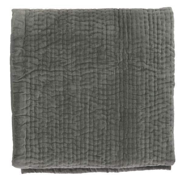 Dessus de lit en velours de coton surpiqu la main doubl coton de la collection vague anthracite - Dessus de lit pique de coton ...