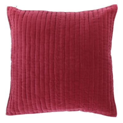 VAGUE Grand coussin carré en velours Cerise