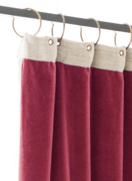 rideau occultant m dicis en velours de coton terre rouge pr t poser 130x280 cm. Black Bedroom Furniture Sets. Home Design Ideas