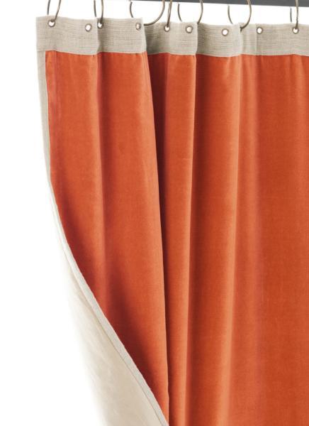 Rideau Occultant Medicis En Velours De Coton Orange Pret A Poser