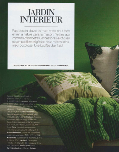 Coussin Tropical olive