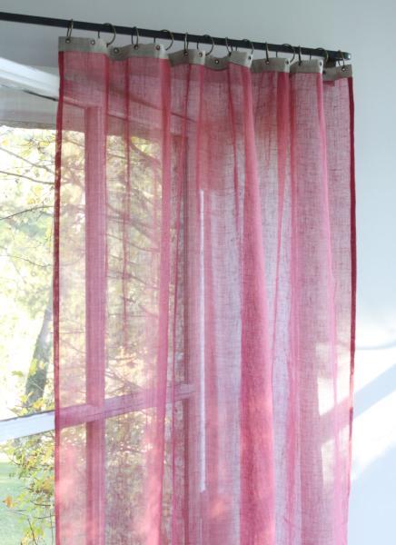 voilage en lin brise framboise pr t poser. Black Bedroom Furniture Sets. Home Design Ideas