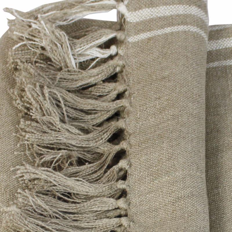plaid en lin rayure blanche 140x160cm. Black Bedroom Furniture Sets. Home Design Ideas