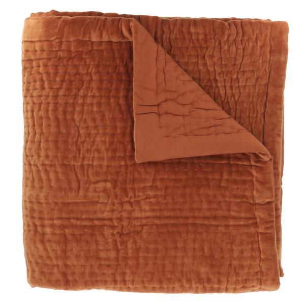 Dessus de lit en velours de coton surpiqu la main doubl coton de la collection vague orange - Dessus de lit pique de coton ...
