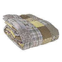 PONDICHERY Plaid matelassé en Patchwork Ocre
