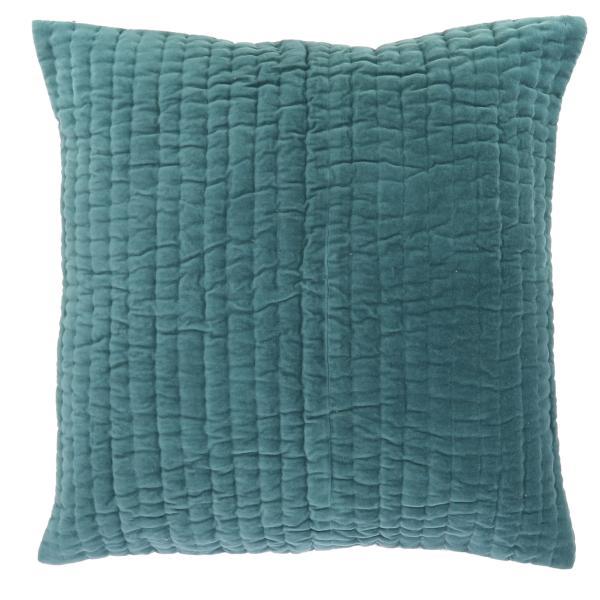 coussin en velours de coton 60x60 cm de la collection vague bleu canard d houssable. Black Bedroom Furniture Sets. Home Design Ideas