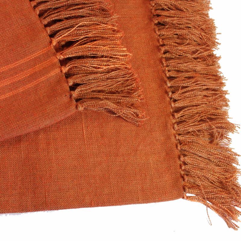 plaid en lin orange 140x270cm. Black Bedroom Furniture Sets. Home Design Ideas