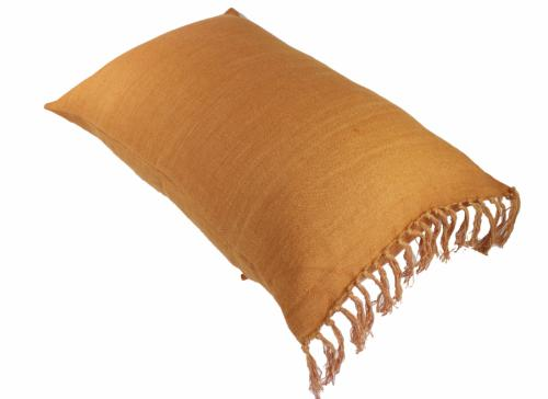 Grand coussin frangé en lin - 50x75cm Orange