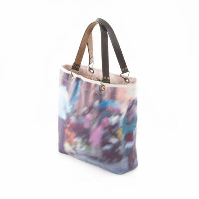 PHOTO PRINT  Sac Cabas en lin - Bleu