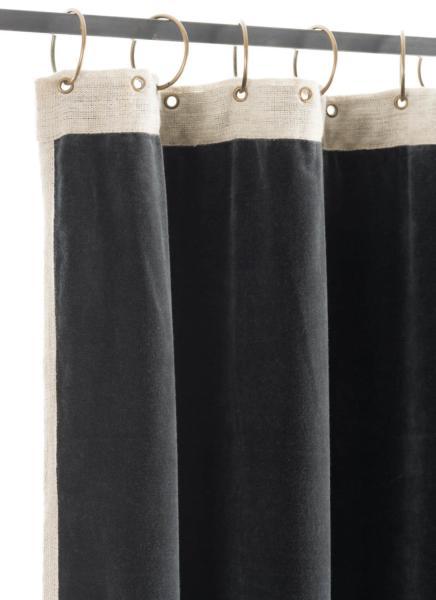 Rideau occultant Médicis en velours de coton gris anthracite, prêt à ...