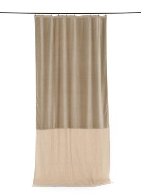 rideau occultant en velours de coton et lin duo coloris beige. Black Bedroom Furniture Sets. Home Design Ideas
