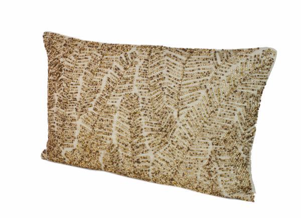 palme coussin en lin brod gold. Black Bedroom Furniture Sets. Home Design Ideas