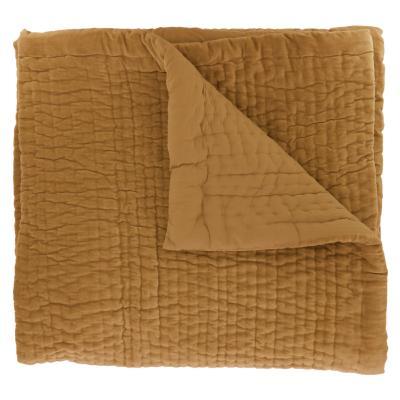 Dessus de lit en velours de coton surpiqu la main doubl coton de la collection vague vieil or - Dessus de lit pique de coton ...