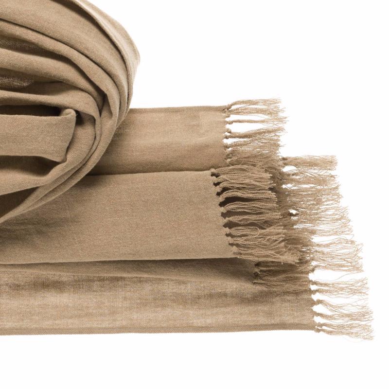 plaid en lin naturel 140x270cm. Black Bedroom Furniture Sets. Home Design Ideas