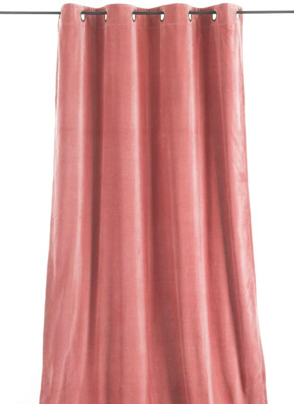 rideau occultant en velours de coton rose poudr doubl. Black Bedroom Furniture Sets. Home Design Ideas