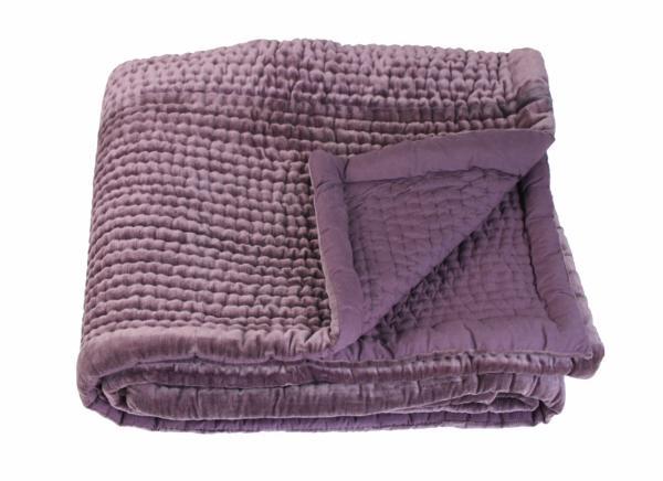 Dessus de lit 2 personnes vague en velours piqu main violette - Dessus de lit pique de coton ...