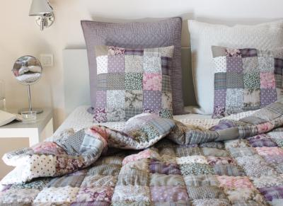 PONDICHERY Plaid matelassé en patchwork Gris