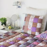 PONDICHERY Bout de lit en patchwork Purple