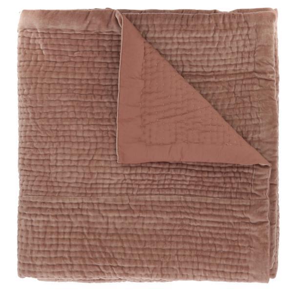 Dessus de lit en velours de coton surpiqu la main doubl coton de la collection vague rose poudre - Dessus de lit pique de coton ...