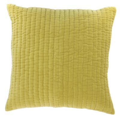 coussin en velours de coton 60x60 cm de la collection vague jaune citron d houssable. Black Bedroom Furniture Sets. Home Design Ideas