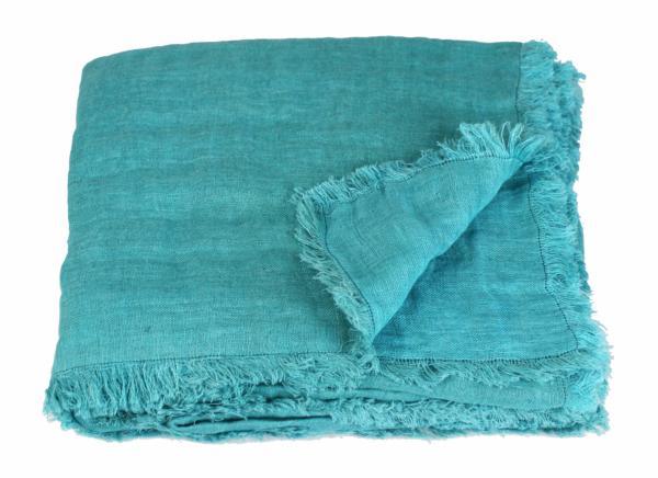 plaid en lin double turquoise en fil d 39 indienne. Black Bedroom Furniture Sets. Home Design Ideas