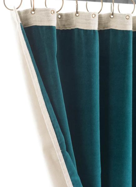 rideau occultant m dicis en velours de coton bleu pr t poser 130x280 cm. Black Bedroom Furniture Sets. Home Design Ideas