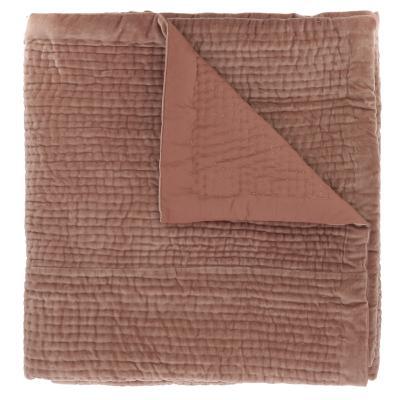 plaid en velours de coton surpiqu la main doubl coton. Black Bedroom Furniture Sets. Home Design Ideas